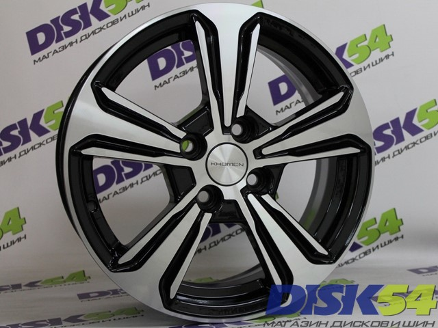Новые литые диски Khomen Wheels KHW1502 BLACK-FP 15x6 4*100 ET46 DIA54.1